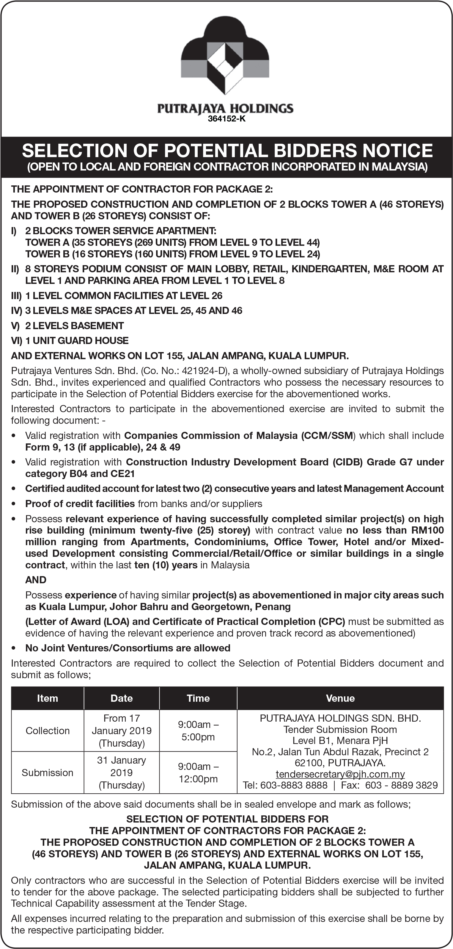 Tender Notice The proposed construction and completion of 2