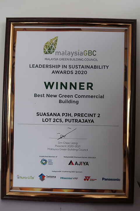 14 September 2020: Putrajaya Holdings Sdn Bhd won the Best New Green Commercial Building for Suasana PJH at MalaysiaGBC Leadership in Sustainability Awards 2020 20